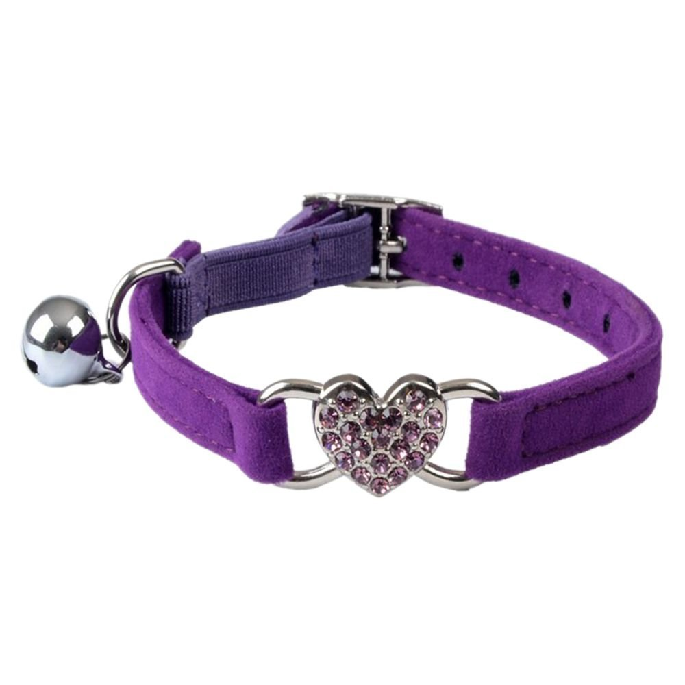 TOOGOO(R) Heart charm and bell cat collar safety elastic adjustable with soft velvet material collar pet product small S purple