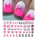 "Breast Cancer Awareness Water Slide Nail Art Decals Set #3 - Salon Quality 5.5"" X 3"" Sheet!"
