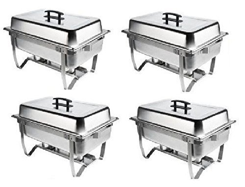 Chafer 4 Pack Premier Chafers Stainless Steel Chafer Dish 8 Qt. Capacity Quantity 4 Chafing Dish Sets Brand New Full Complete Chafer Systems by M.V. Trading