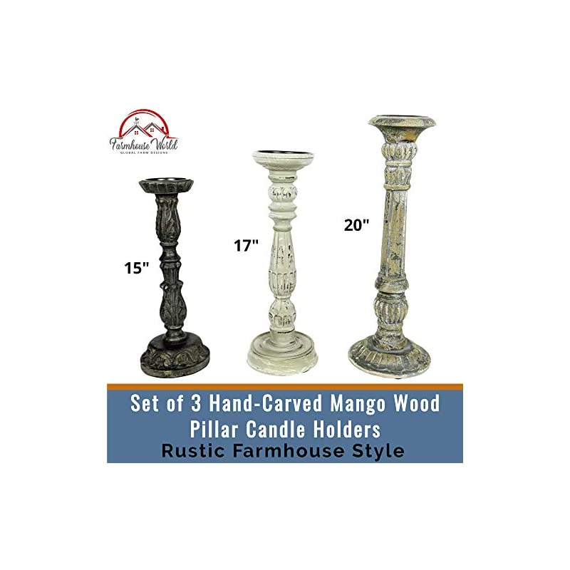 Farmhouse Candle Holders Set of 3 - Wooden Candle Holders with Distressed Finish for a Vintage Antique Decor Look - Each…