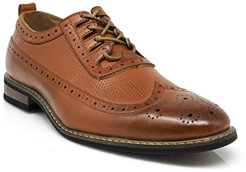 Men's Classic Italy Modern Oxford Wingtip Captoe 2-Tone Lace Dress Shoes (13, WOOD2_Brown) by Enzo Romeo