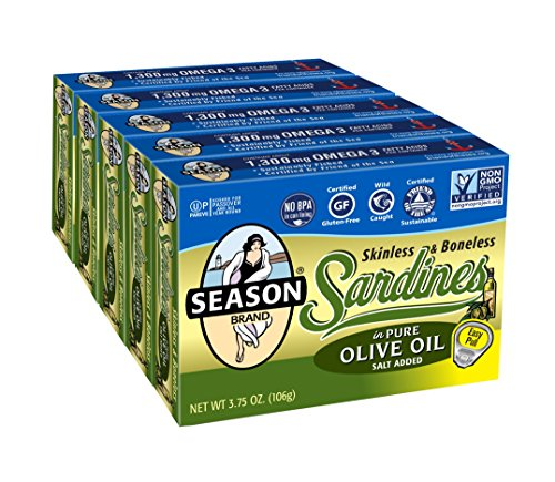 Season Skinless and Boneless Sardines in Olive Oil, 3.75-Ounce Tins (Pack of 5)