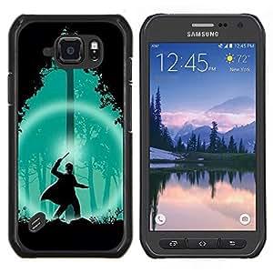 EJOOY---Cubierta de la caja de protección para la piel dura ** Samsung Galaxy S6Active Active G890A ** --Verde Asistente Forestal Noche Silueta