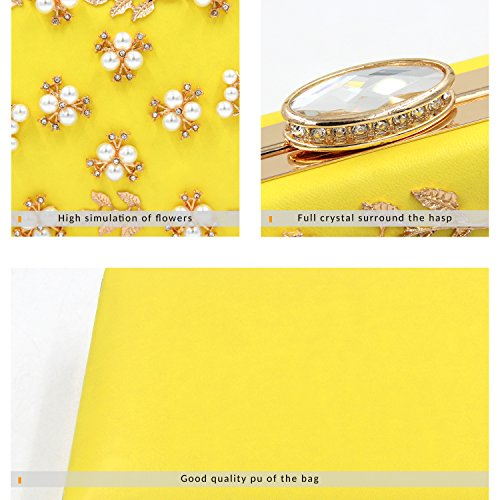 Milisente Evening Bags Purse Women Bag Clutches Clutch Yellow Pearls RPRwrt
