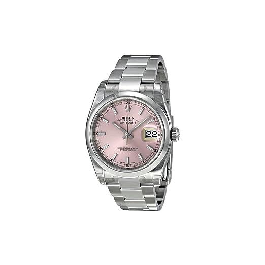 Rolex Datejust Automático Esfera Rosa Acero Inoxidable Reloj 116200PSO: Amazon.es: Relojes