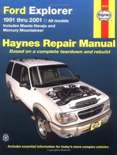 ford explorer 91 2001 incl mazda navajo mercury mountaineer haynes rh amazon com 1999 Ford Explorer Manual PDF 1999 Ford Explorer Owners Manual