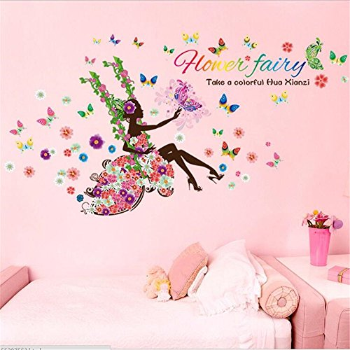 Amtoodopin Fairy Wall Stickers Swing Elf Girl Princess Wall Decals Butterfly Flowers Dancing Girls Angel Wings Wall Decor DIY for Windows Bedroom Living Room Decoration (Flower Fairy Swing)