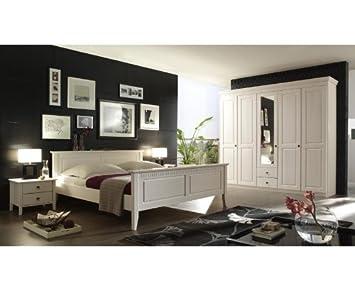 Landhaus Schlafzimmer Set »DENIO226« massiv, weiß lasiert ...