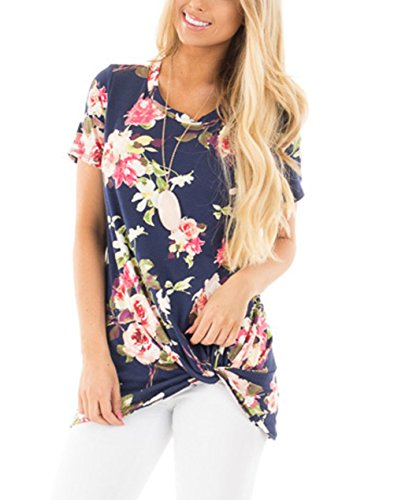 jugpo-womens-short-sleeve-floral-print-knot-front-blouse-casual-tops-t-shirt-us12-14l-navy-blue