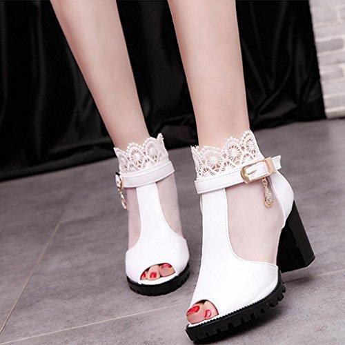 Damen Sandalen,Sannysis Damen Frühling Sommer Knospe Seide Garn Fisch Mund Atmungsaktiv Stiefel Sandalen mit hohen Absätzen Weiß