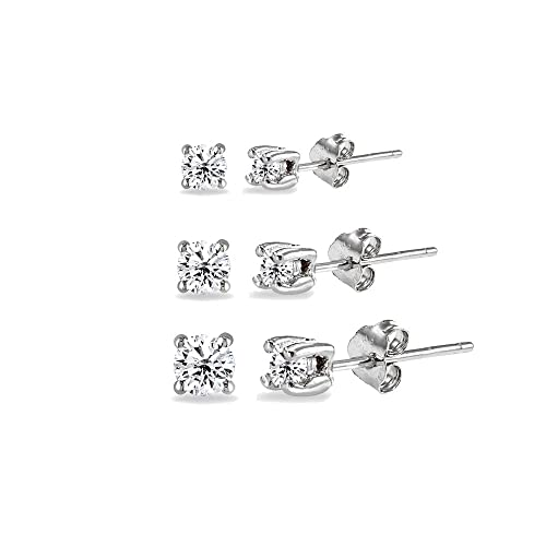 Fine Jewelry 2 Pair Genuine White Cubic Zirconia Sterling Silver Earring Sets ZqK0V6