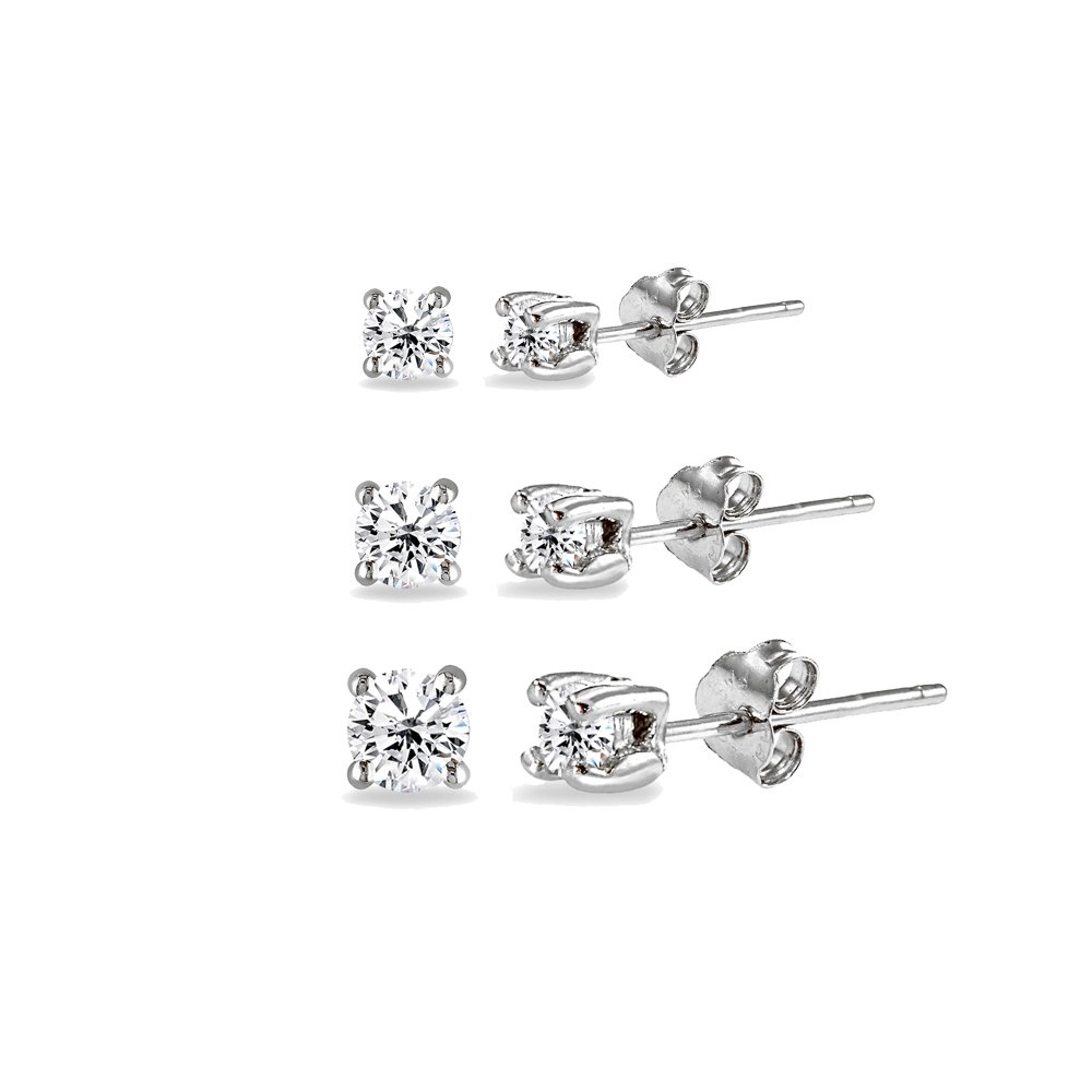 3 Pair Set Sterling Silver Cubic Zirconia Round Stud Earrings, 3mm 4mm 5mm