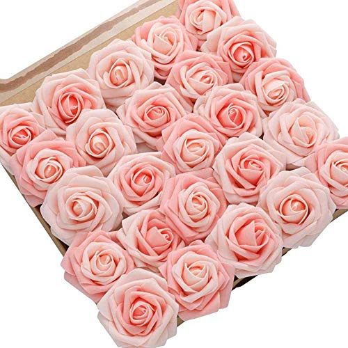 DerBlue 60pcs Artificial Roses Flowers Real Looking Fake Roses Artificial Foam Roses Decoration DIY for Wedding Bouquets Centerpieces,Arrangements Party Home Decorations (Pink&Blush Heirloom) (Arrangement Flower Tall)