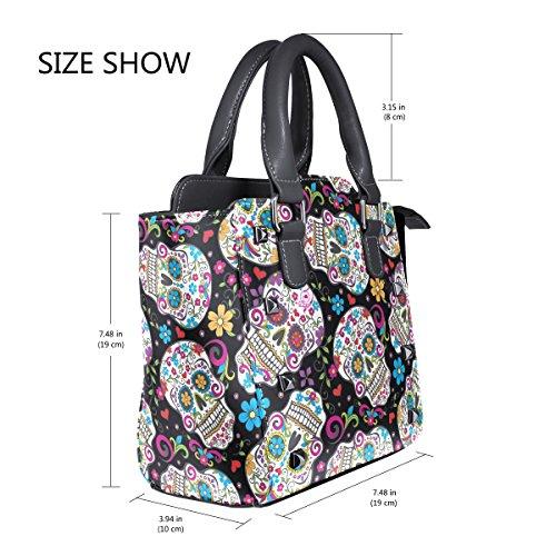 Leather Shoulder Handbags Women's Flowers Skulls Sugar Tote TIZORAX Custom Bags wO0Xxq