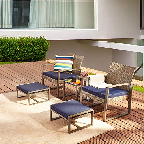 LOKATSE HOME 5-Piece Wicker Outdoor Conversation Set Patio Furniture PE Rattan All Weather Cushi ...