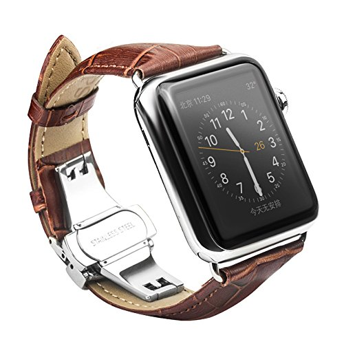 For Apple iWatch Band 42mm Replacement, Premium Leather Wristband - Butterfly Clasp Smart Watch Band, Fit Apple iWatch /iWatch2 42mm All Models