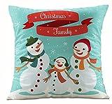 Leewos Christmas Cushion Covers,Santa Claus Snowman Pattern Pillow Case Xmas Home Party Decor Throw Cushion Case 45X45cm (45X45cm, M)