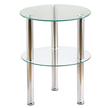 Yaheetech Small Round Glass 2 Tier Sofa Side End Table Stainless