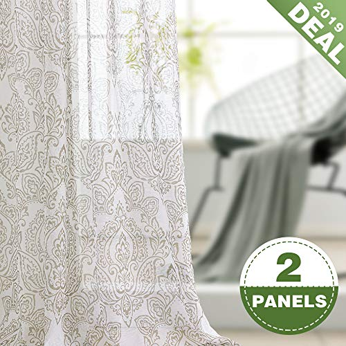 (ECODECOR Damask Print Sheer Curtain 63 inch for Bedroom Linen Look Floral Window Drapes Living Room Toile Rod Pocket 2 pcs Natural)