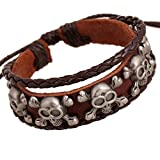 Carat Lovers Rock Skulls Studded Multi-strand Adjustable Length Leather Wrap Bracelet (Brown, Unixes, 2.17
