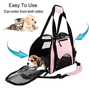 Wanfei Pet Carrier for Small Dogs, Cats | Airline Approved Soft-Sided Pet Travel Carrier | Under Seat Compatability | Ideal for Small and Medium Sized Cats, Dogs, Kitten, Rabbit (S-Pet Carrier, Pink)