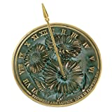 Rome 2302 Flowers Sundial, Solid Brass with Verdigris Highlights, 10-Inch Diameter