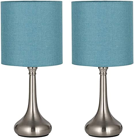 HAITRAL Modern Table Lamps - Bedside Desk Lamps, Unique Nightstand Lamps  with Fabric Lamp Shade and Metal Base for Bedroom, Living Room, Office, ...