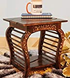 Onlineshoppee Lopat End Table (Light Walnut Finish, Solid Wood)