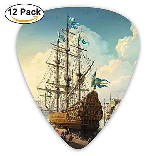 - 12-pack Fashion Classic Electric Guitar Picks Plectrums 18th Century Ship Instrument Standard Bass Guitarist