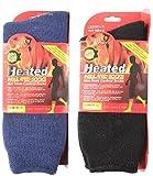 heat sox - 2 Pair Mens Heated Sox Socks Thermal Socks Keeps Feet Warmer Longer Includes 2 Laundry Sock Saver Clips