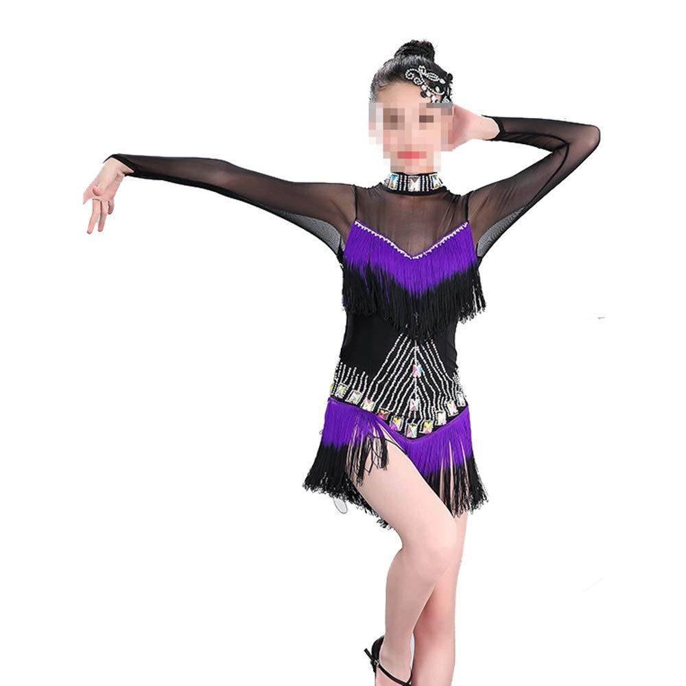Violet 160cm Cvbndfe Doux Robe de Danse Samba Latine pour Filles (Couleur   Violet, Taille   150cm)