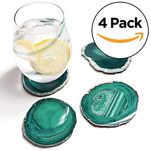 Set Agate Green (Amethya Natural Sliced Agate Coaster, Cup Mat for Drinks with Rubber Bumper, Set of 4 (Teal))