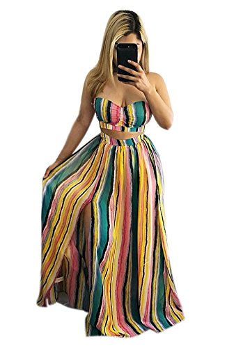 Women's Girls Two Pieces Outfits Rainbow Stripe Print Wrapped Crop Tank Top Shirt + Irregular Swing Skirt Set Party Club Boho Dress Green XL