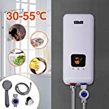 240V 5.5KW 3 Power Levels Instant Electric Hot Tankless Water Heater + Shower Head for Bathroom Kitchen