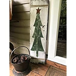Rustic Christmas Tree Reclaimed Wood Pallet Entryway Sign Home Decor 42x11