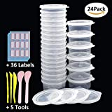 #8: RIOUSSI 2oz Containers for Slime, 24 Pack Durable Slime Storage Containers with Lids + 5pcs Slime Tools+ 36pcs Sticker Labels. Clear, Small - 2oz/60ml Capacity.