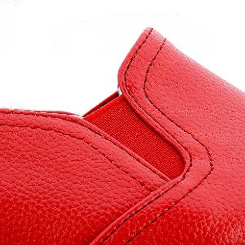 Cuir Pu Légeres À Rond Tire Unie Bas Couleur Aalardom Chaussures Talon Femme Rouge 451nE
