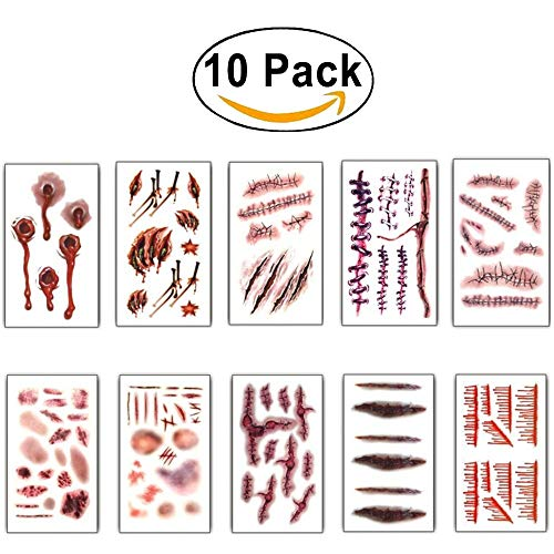 10Pcs Halloween Zombie Fake Scars Tattoos Bloody Costume Makeup Scary Injury Sticker -