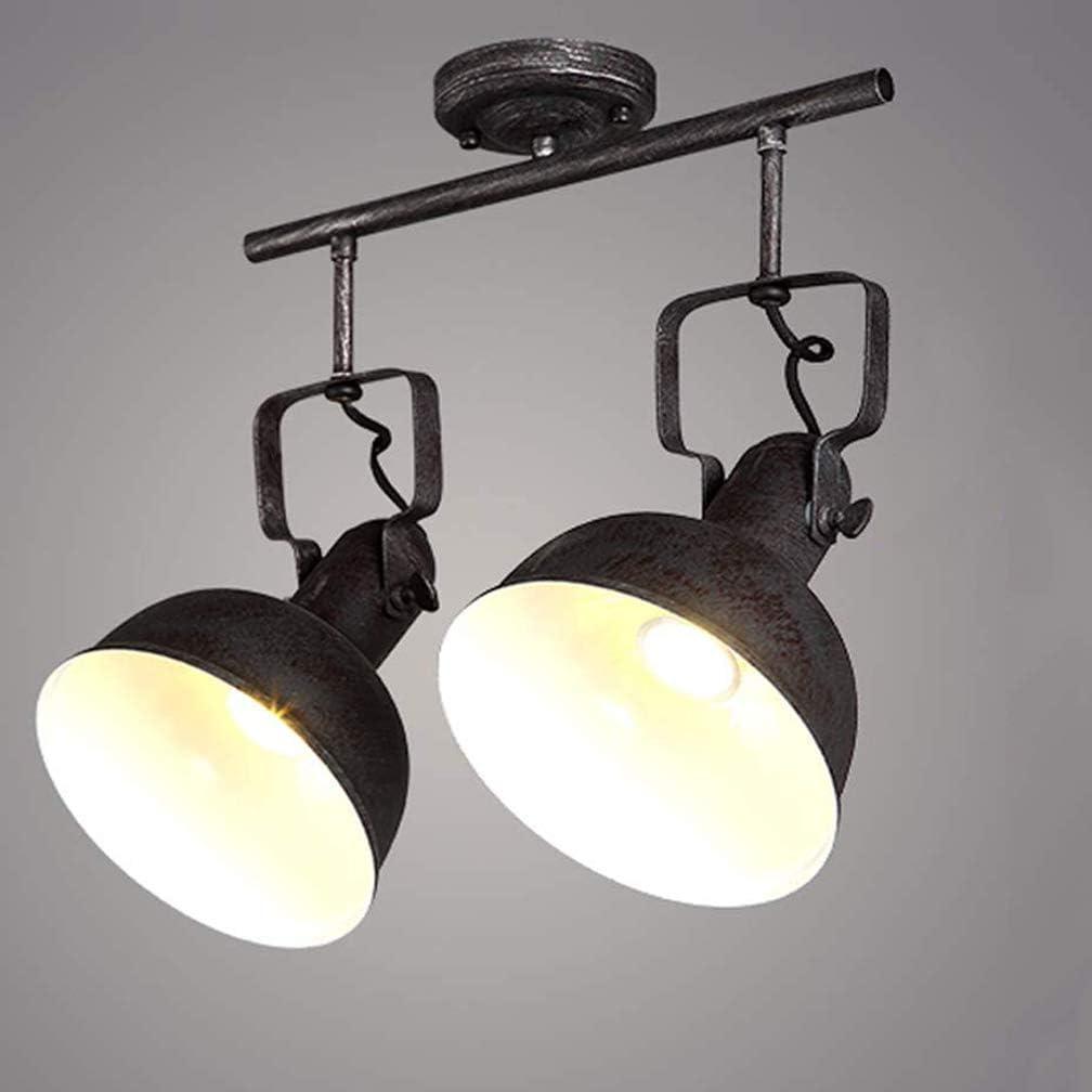 E27 Relaxdays Wandlampe Holz Vintage 2 Strahler 7 x 28 x 12,5 cm Metall Wand /& Decke schwarz//natur Retro Lampe f