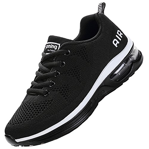 JARLIF Men's Lightweight Athletic Running Shoes Breathable Sport Air Fitness Gym Jogging Sneakers (10.5 D(M) US, Black)