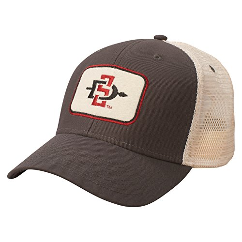 NCAA San Diego State Aztecs Soft Mesh Sideline Cap, Adjustable Size, Dark Grey/Natural