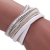 AutumnFall® Women Bohemian Bracelet Woven Braided Handmade Wrap Cuff Magnetic Clasp (White)