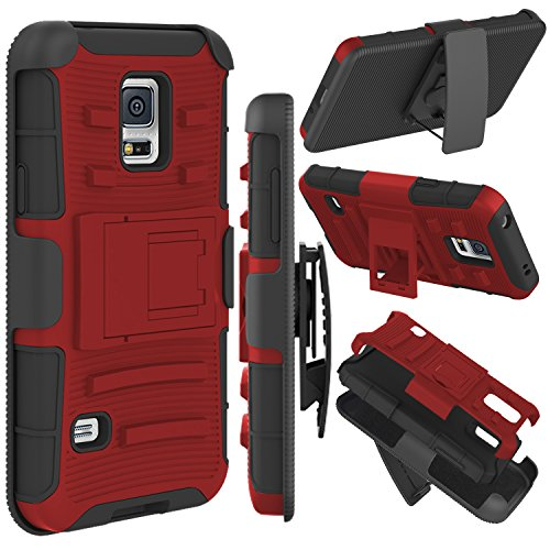Galaxy S5 Case, Zenic(TM) Hybrid Dual Layer Armor Defender Full-Body Protective Case Cover with Kickstand & Belt Clip Holster Combo for Samsung Galaxy S5 i9600 Case (Red/Black) ()