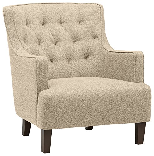 Stone Beam Decatur Modern Tufted Wingback Living Room Accent Chair, 32.3 W, Oatmeal