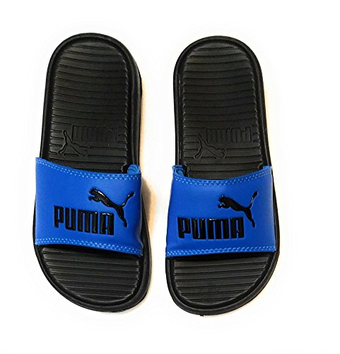 PUMA Boys Pop Cat Logo Adjustable Athletic Slides Sandals (Blue)