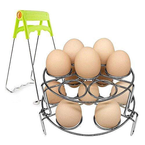 Pawaca Egg Steamer Rack, Egg Cooker Stackable Steamer Rack Trivet for Instant Pot and Pressure Cooker, Stainless Steel Food Basket Stand