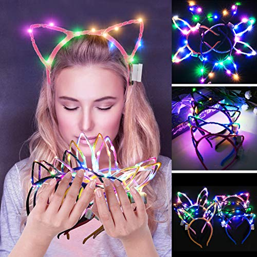 Coxeer LED Flower Crown, 7 PCS Led Flower Wreath Headband Luminous 10 Led Flower Headpiece Flower Headdress for Girls Women Wedding Festival Holiday Christmas Halloween Party (8PCS Cat Ear)]()