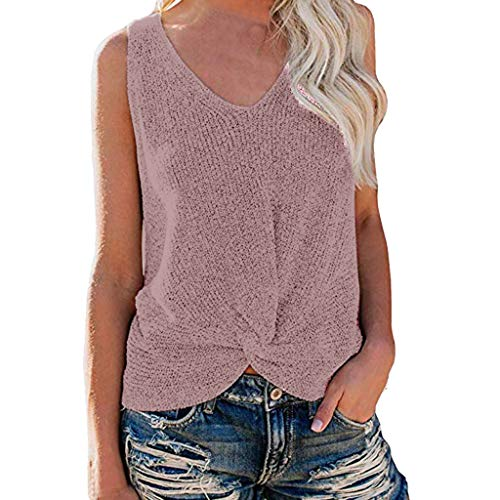Womens Summer V Neck Sleeveless Sweater Knot Casual Loose Knit Tank Tops