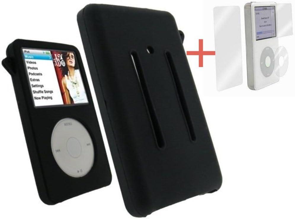 Amazon Com Black Silicone Skin Cover Case For Ipod Video 30gb Classic 80gb 120gb 160gb Screen Protector