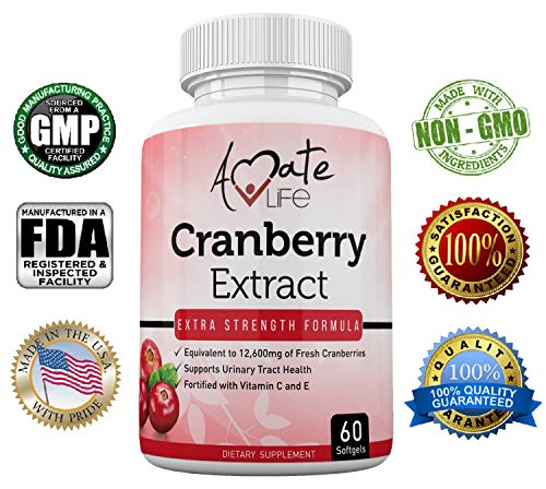 Amate Life Cranberry Extract (12660mg) for Urinary Tract Defense with Vitamin C & Vitamin E - Promotes Kidney, Urinary Tract & Bladder Health - Dietary Supplement for Women & Men - 60 Softgels